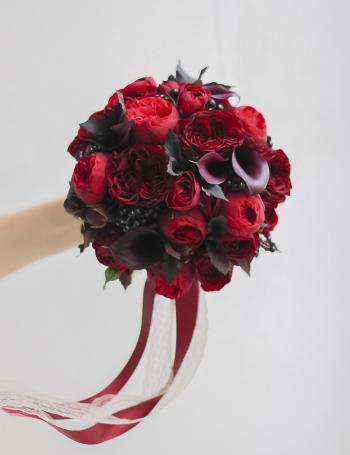 Свадебный букет цветочная палитра BURGUNDY