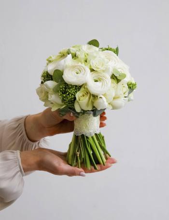Свадебный букет из ранункулюсов WHITE