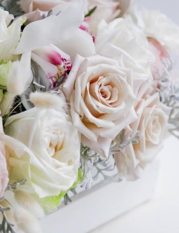 Композиция из роз и орхидеи в боксе COLD WHITE