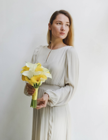 Свадебный букет из белых и желтых калл LEMON&WHITE