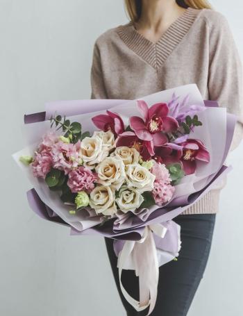 Букет цветочная палитра PURPLE&COCOA