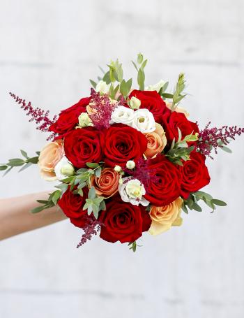 Cвадебный букет из роз RED&CAPPUCCINO