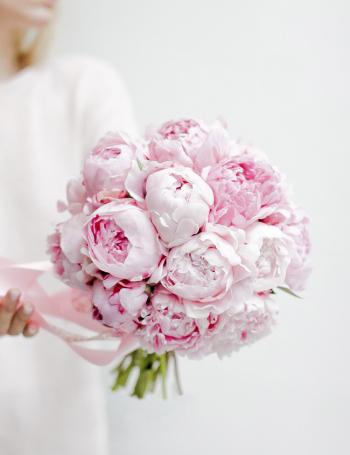 Cвадебный букет из розовых пионов SARAH BERNHARDT