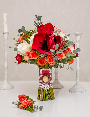 Букет невесты из амариллисов RED&ORANGE