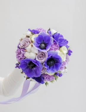 Свадебный букет с анемонами PURPLE MIST