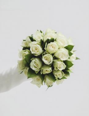 Cвадебный букет из роз MINI WHITE&GREEN