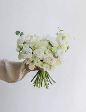 Свадебный букет из калл и роз WHITE