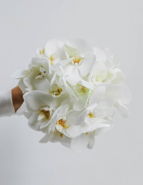 Cвадебный монобукет из орхидеи WHITE