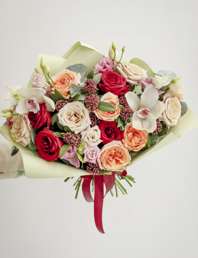 Букет из пионовидных роз RED&CAPPUCINO