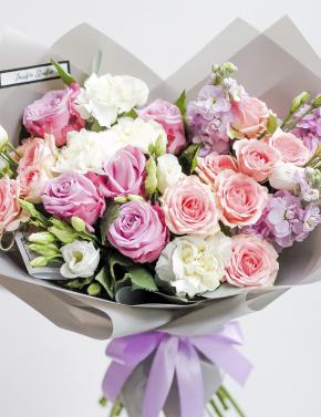 Букет из роз и маттиолы BRIGHT SUN