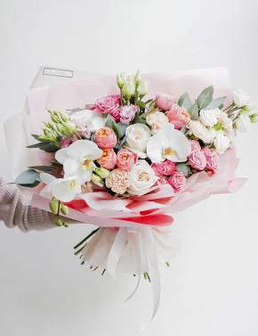 Букет из роз и орхидеи PEACH JUICE